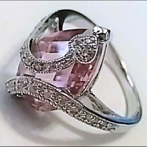4 CT PINK SAPPHIRE SILVER RING SIZE 9